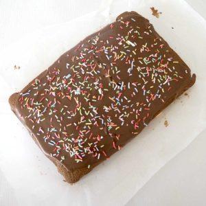 overhead view of chocolate cake