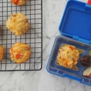 ham and cheese muffin in a blue yumbos