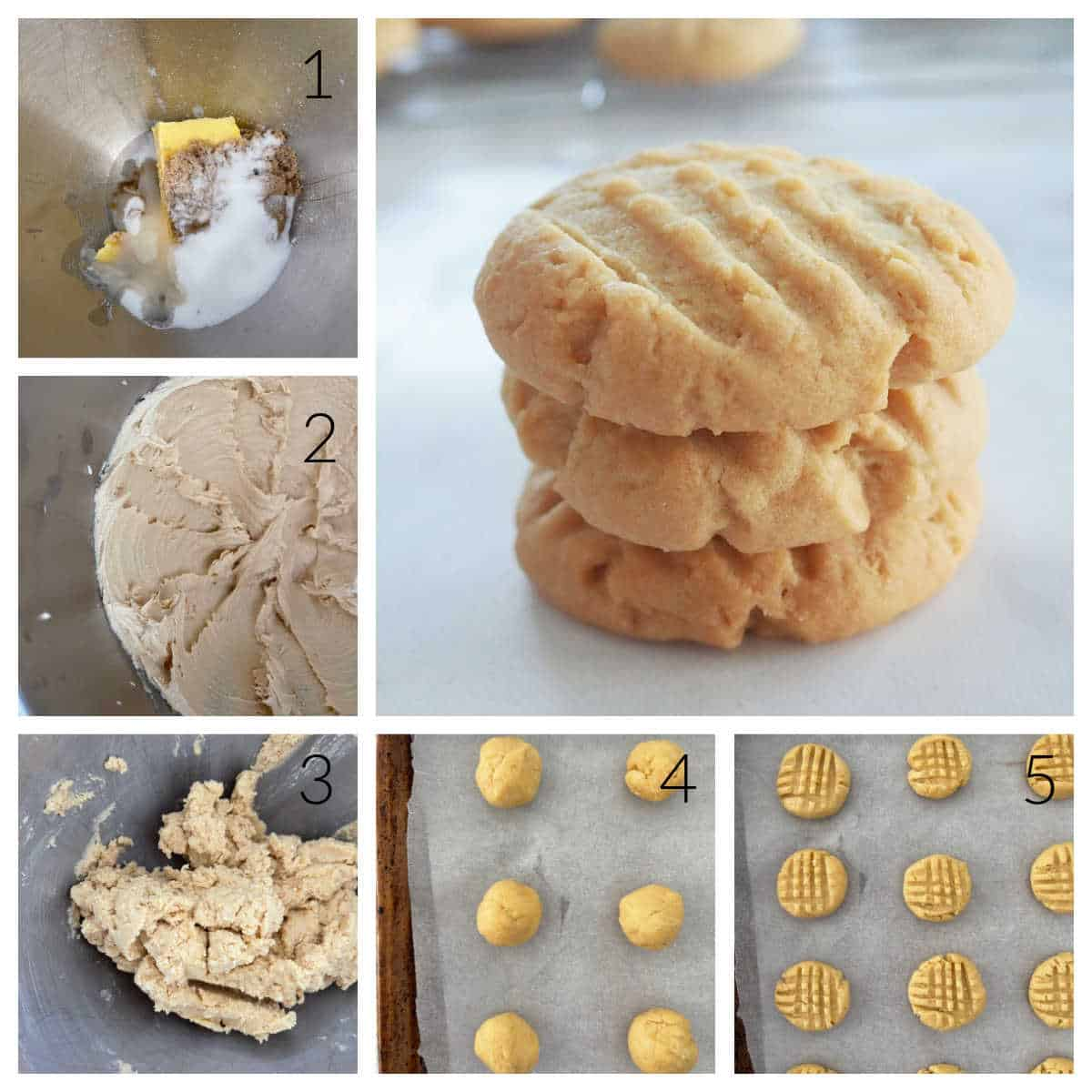 Collage of steps showing how to make Peanut Butter Biscuits