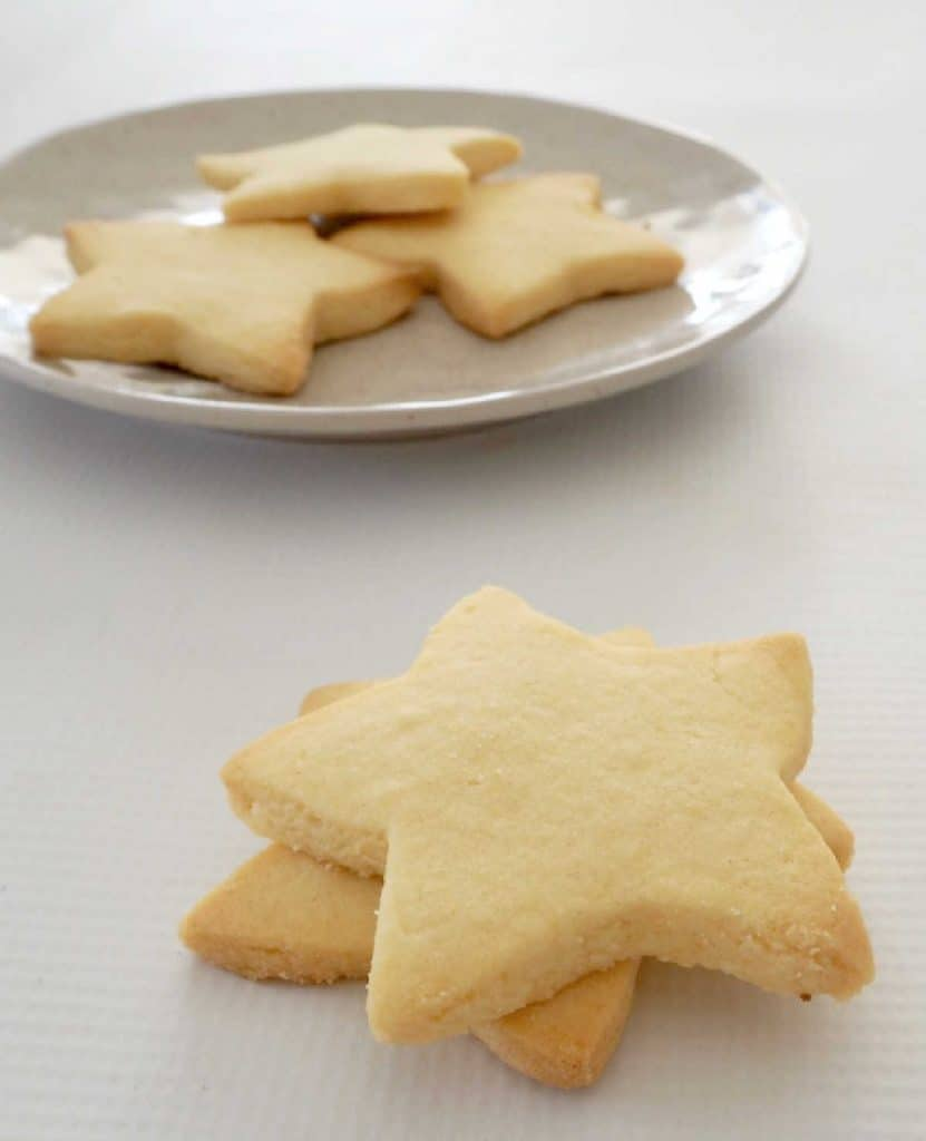 side view of 3 Ingredient Shortbread on a plate