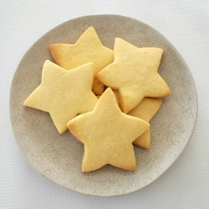 overhead view of 3 Ingredient Shortbread on a plate