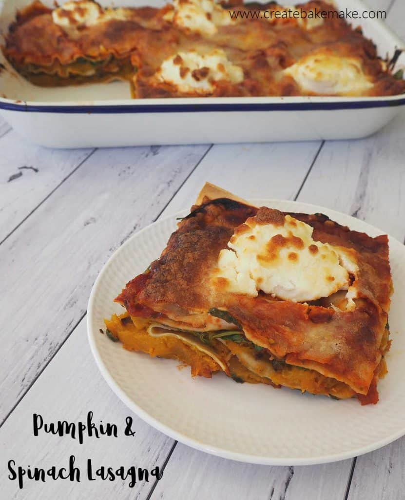 side view of Pumpkin and Spinach Lasagna on a plate