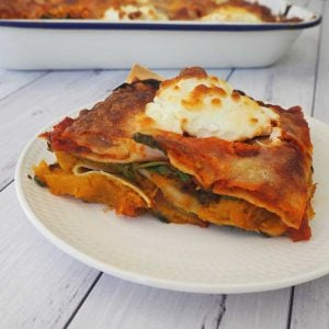 side view of Pumpkin and Spinach Lasagna
