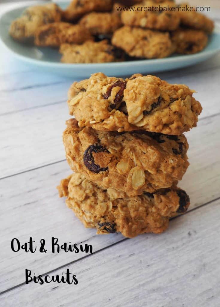 a stack of three oatmeal raisin cookies