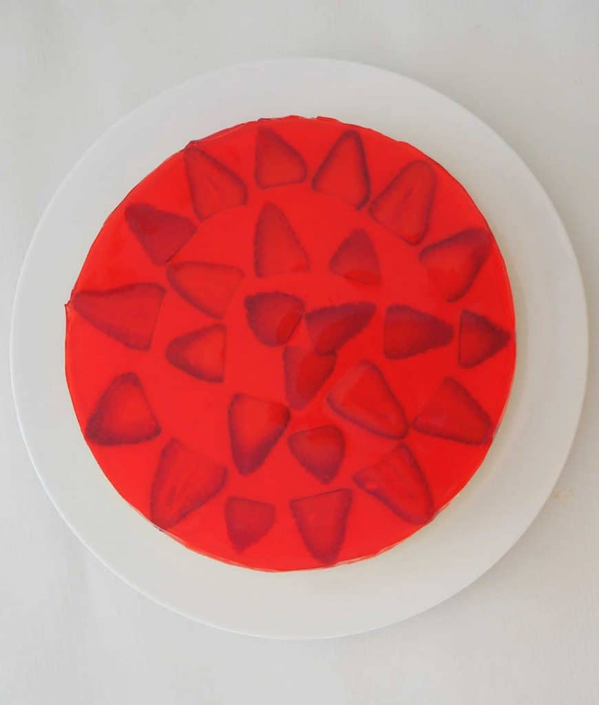 overhead view of a Strawberry Jelly Cheesecake